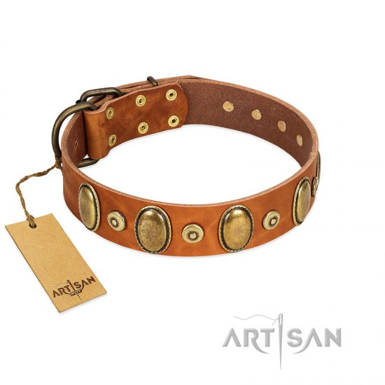 """Crystal Sand"" FDT Artisan Tan Leather English Bulldog Collar with Vintage Looking Oval and Round Studs"