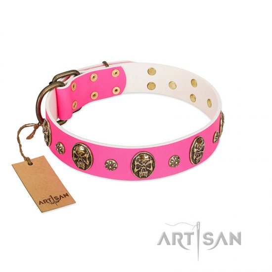 """Fashion Show"" FDT Artisan Pink Leather English Bulldog Collar with Old Bronze-like Skulls and Studs"