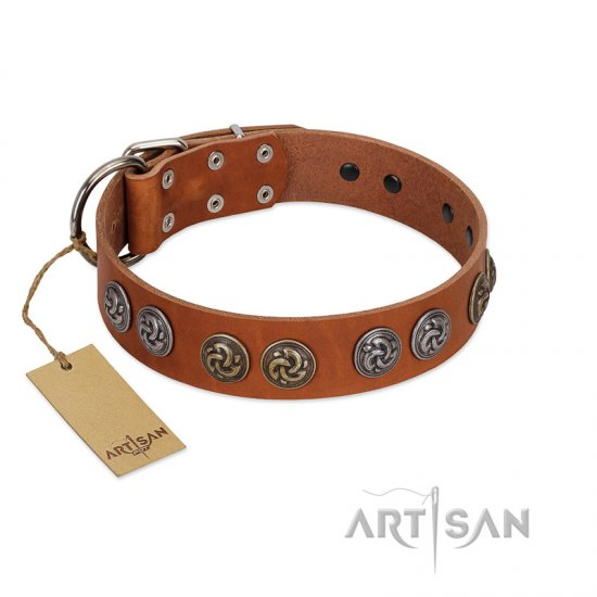 """Luxurious Life"" Premium Quality FDT Artisan Tan Leather English Bulldog Collar with Round Adornments"