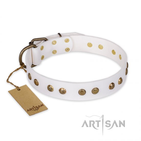 """Midnight Sun"" FDT Artisan White Leather English Bulldog Collar with Decorations"