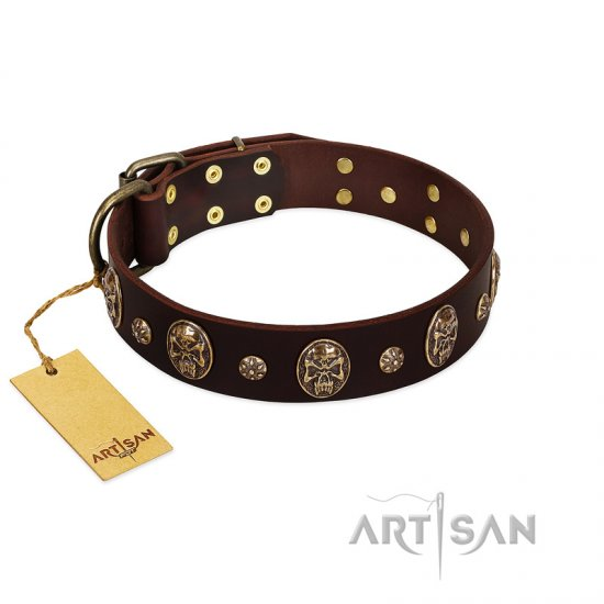 """Breaking the Horizon"" FDT Artisan Brown Leather English Bulldog Collar with Engraved Studs and Medallions"