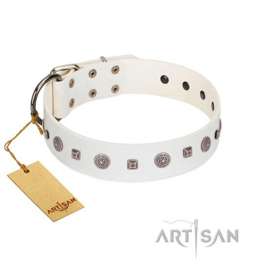 """Drops on Snow"" Handmade FDT Artisan White Leather English Bulldog Collar Adorned with Silver-Like Studs"