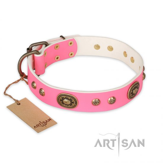 """Sensational Beauty"" FDT Artisan Pink Leather English Bulldog Collar with Old Bronze Look Plates and Studs"