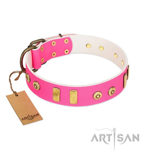 """Prim'N'Proper"" Handmade FDT Artisan Pink Leather English Bulldog Collar with Old Bronze-like Dotted Studs and Tiles"