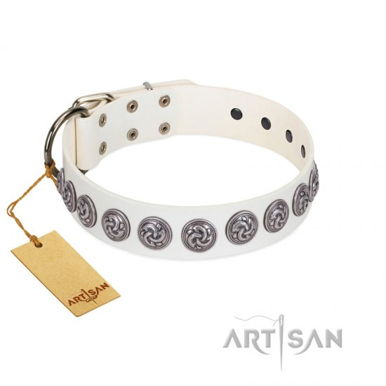 """Bohemian Spirit"" Handmade FDT Artisan White Leather English Bulldog Collar with Vintage Decorations"