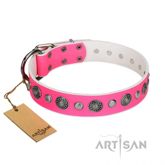 """Glamorous Shine"" FDT Artisan Stylish Leather English Bulldog Collar with Old Silver-like Plated Decorations"