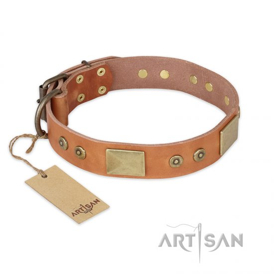 """The Middle Ages"" FDT Artisan Handcrafted Tan Leather English Bulldog Collar"