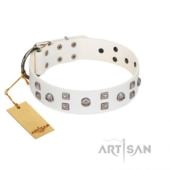 """Rock the Sky"" Durable FDT Artisan White Leather English Bulldog Collar with Chrome-plated Decorations"