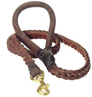 4 FT Braided Leather Dog Leashes for English Bulldog