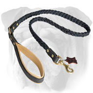 Braided Handcrafted Leather English Bulldog Leash