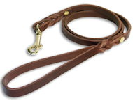 Custom Leather Dog Leash for English Bulldog with brass hook