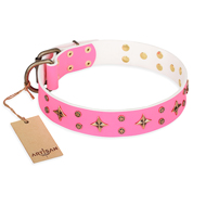 'Chi-Chi Pink Rose' FDT Artisan Leather English Bulldog Collar with Decorations