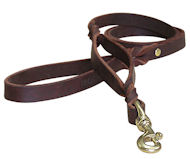 Guarantee Double Handle Leather Dog Leash 3/4 inch on 5 FT