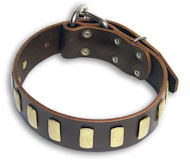 Handcrafted Bulldog Brown dog collar 18 inch/18'' collar - S33p