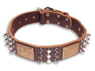 Spiked Brown collar 24'' for English Bulldog /24 inch dog collar