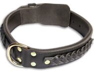Bulldog Braided Black dog collar 20 inch/20'' collar-C55s33