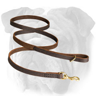 Genuine Leather English Bulldog Leash for Different Activities