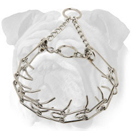 """Nasty Temper Tamer"" Chrome Plated English Bulldog Pinch Collar - 1/8 inch (3.2 mm)"