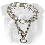 Chrome Plated English Bulldog Prong Collar with Scissors-Like Snap Hook - 1/8 inch (3.25 mm)