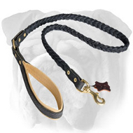 Braided English Bulldog Leash with Padded Handle