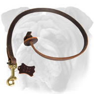Leather English Bulldog Leash with Circle Handle