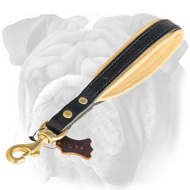 'Hand Loop' Leather Short Leash for English Bulldog