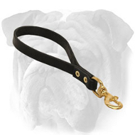 Short Leather English Bulldog Leash for Super Control