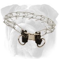 """Super Tamer"" Chrome Plated English Bulldog Punch Collar with Leather Part - 1/11 inch (2.25 mm)"