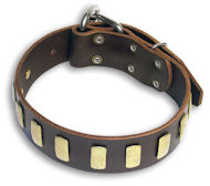 GENUINE LEATHER DOG COLLAR 1 1/2'' wide for English Bulldog
