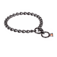 """Fur Protector"" Black Stainless Steel English Bulldog Choke Collar - 1/6 inch (4 mm) wire diameter"