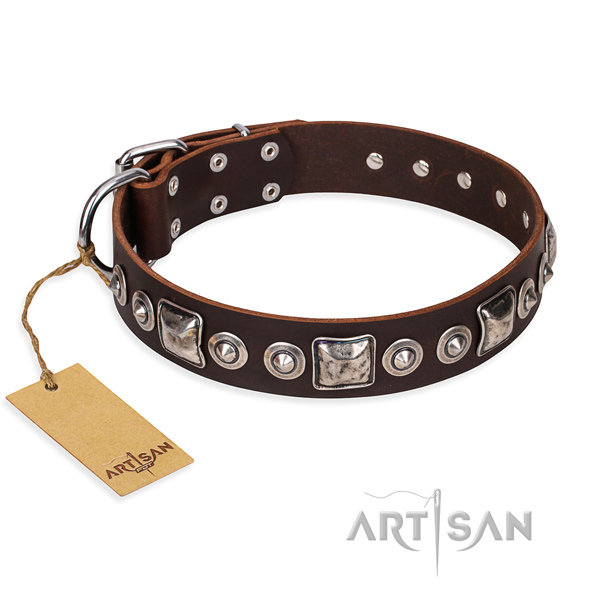 Natural genuine leather dog collar made of top notch material with strong fittings