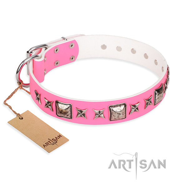 Natural genuine leather dog collar made of gentle to touch material with corrosion proof traditional buckle