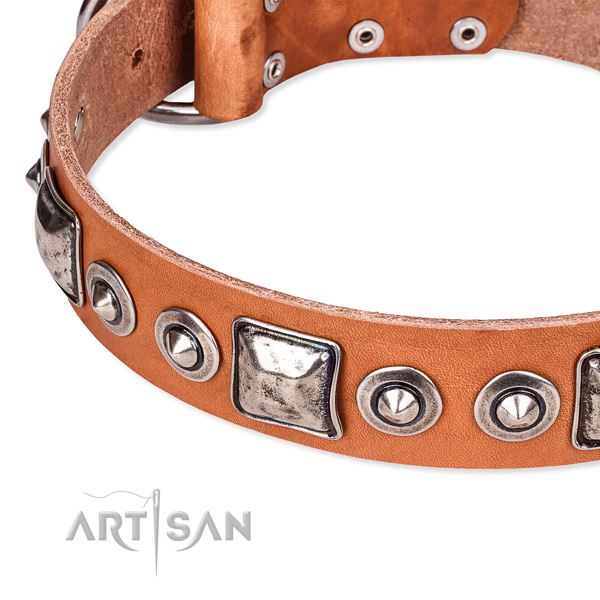 Soft to touch genuine leather dog collar handcrafted for your handsome doggie