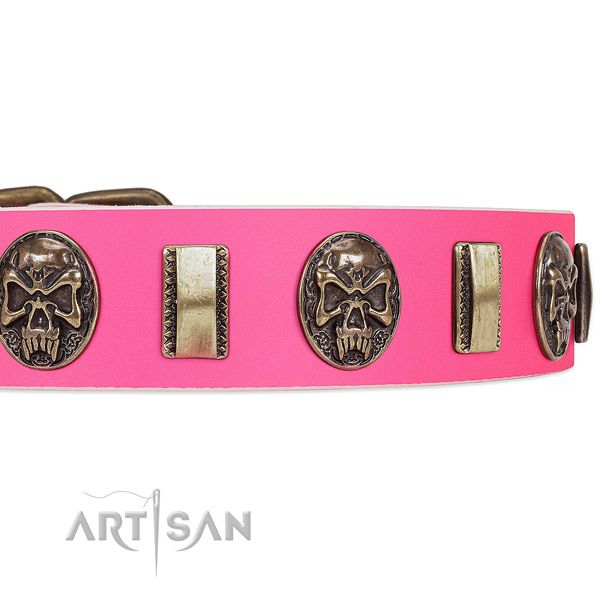 Strong studs on full grain genuine leather dog collar for your pet
