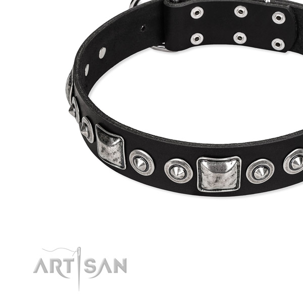 Natural genuine leather dog collar made of gentle to touch material with embellishments