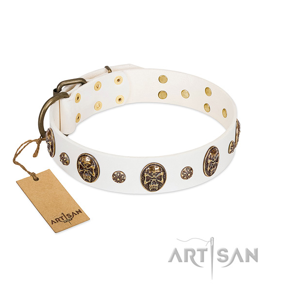 Convenient full grain natural leather collar for your four-legged friend