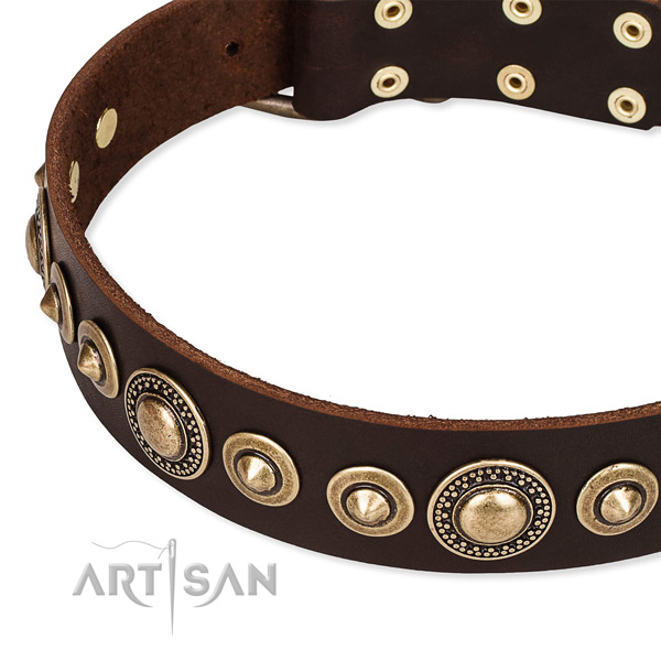 Strong full grain natural leather dog collar created for your stylish pet