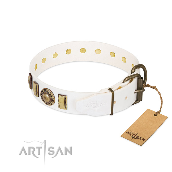 Handcrafted leather dog collar with durable traditional buckle