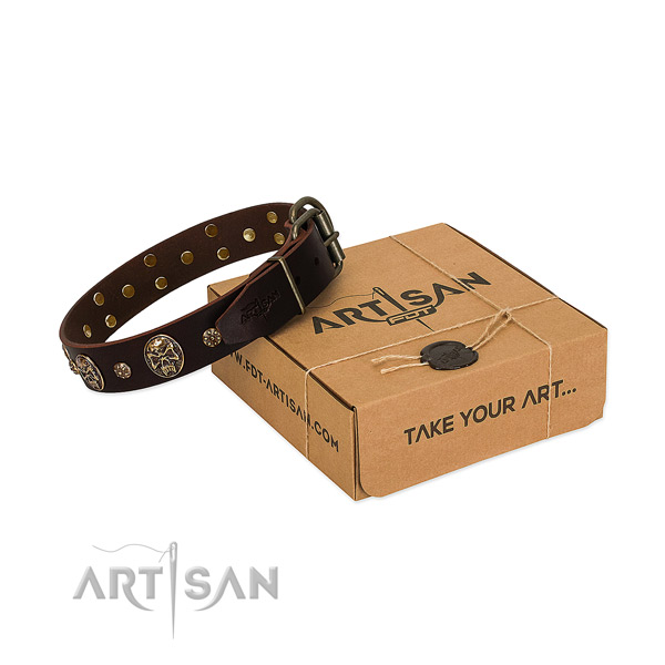 Corrosion proof adornments on full grain natural leather dog collar for your dog