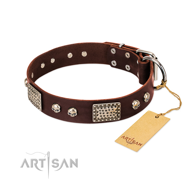 Easy to adjust natural genuine leather dog collar for stylish walking your dog