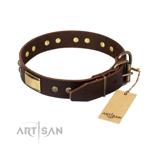 Convenient genuine leather collar for your four-legged friend