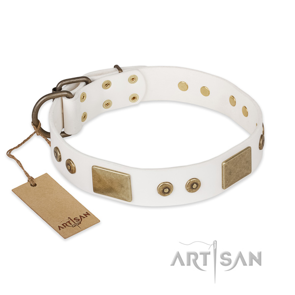 Significant natural leather dog collar for handy use