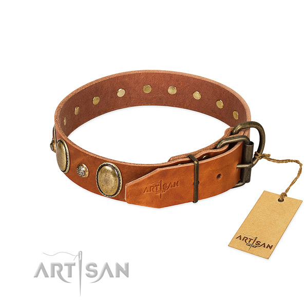 Inimitable full grain natural leather dog collar with corrosion proof buckle