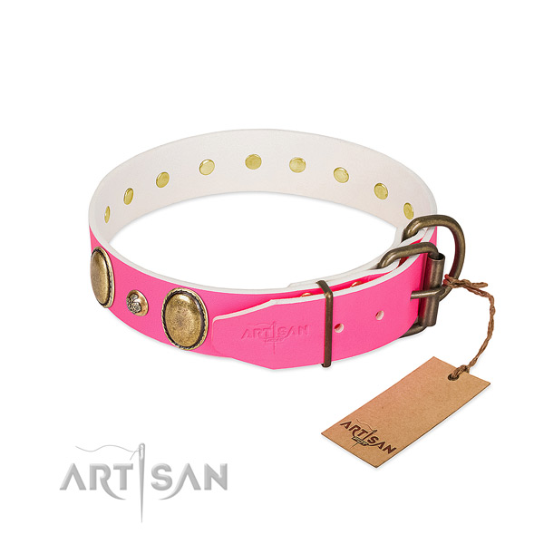 Comfortable wearing best quality full grain natural leather dog collar