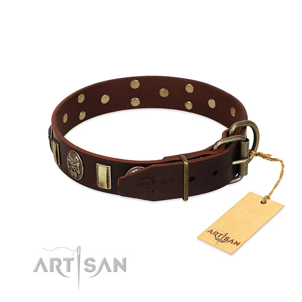 Full grain natural leather dog collar with corrosion resistant buckle and embellishments