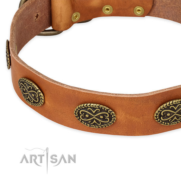 Adjustable full grain leather collar for your handsome doggie