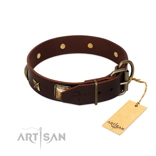 Full grain natural leather dog collar with corrosion resistant D-ring and adornments