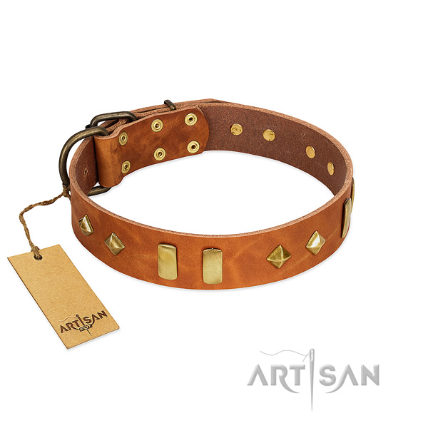 Comfortable wearing best quality full grain leather dog collar with decorations