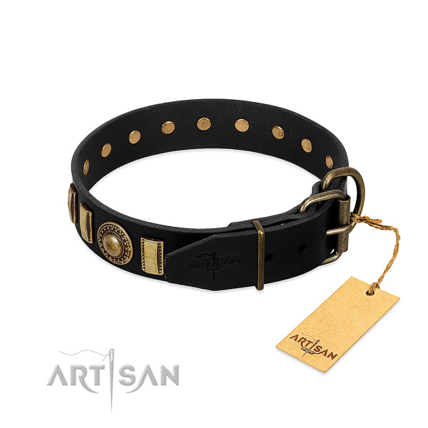 Flexible natural leather dog collar with decorations
