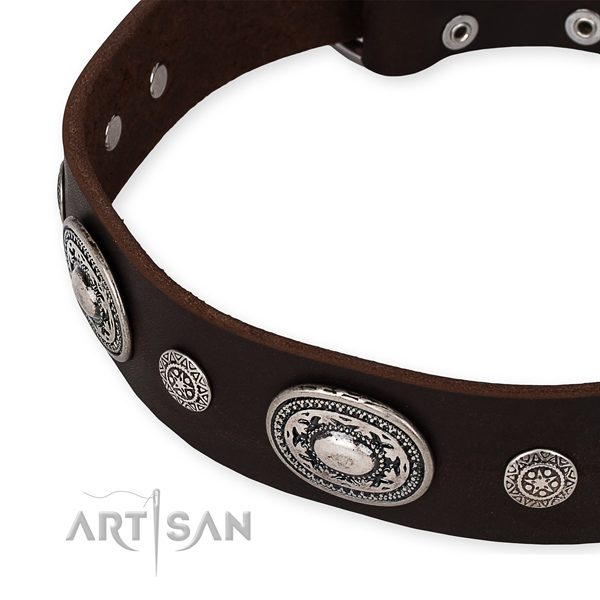 Durable full grain natural leather dog collar handmade for your beautiful four-legged friend